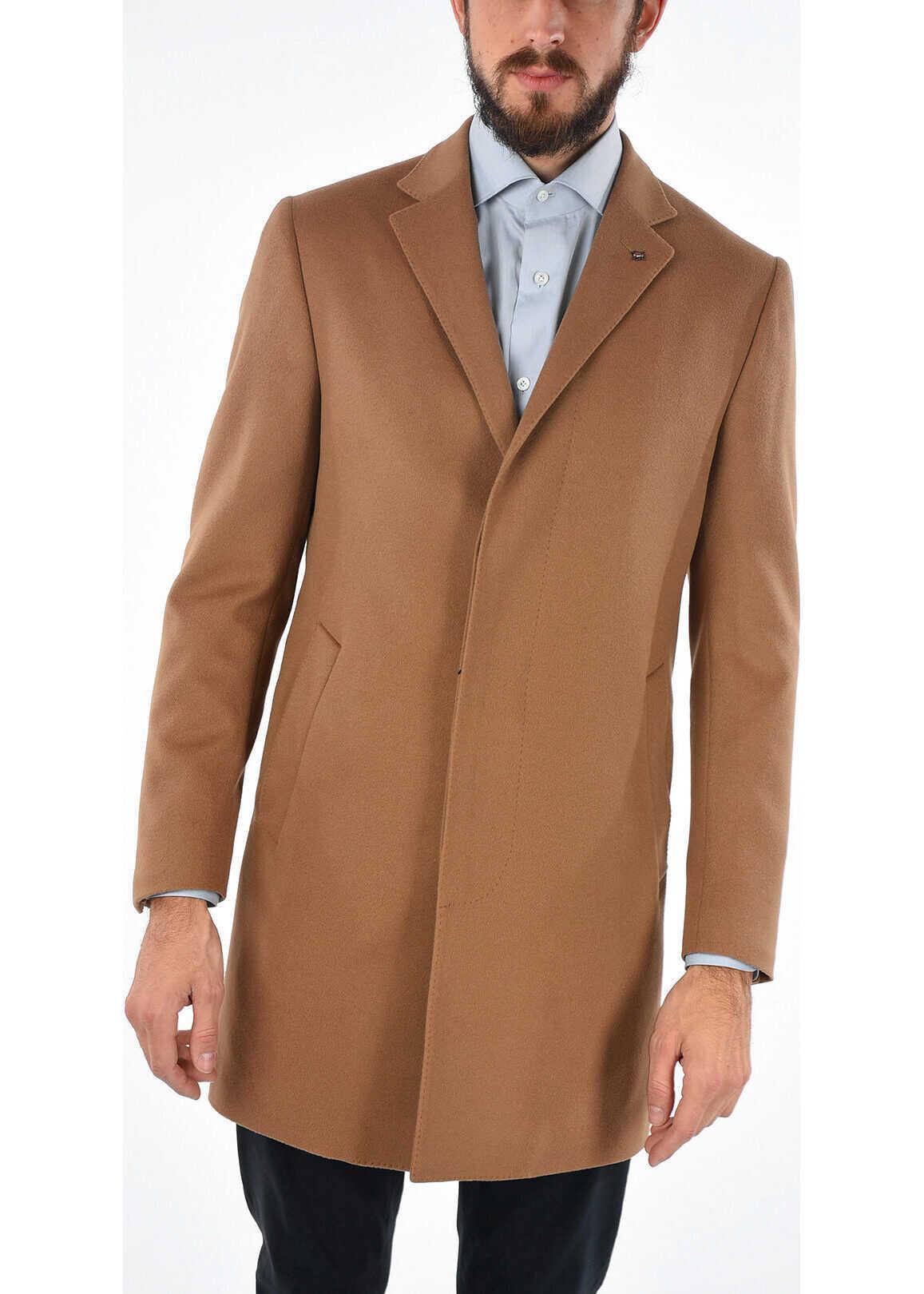 CORNELIANI CC COLLECTION hidden closure chesterfield coat BEIGE