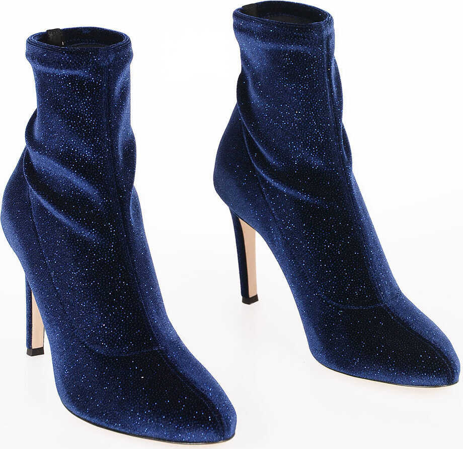 Giuseppe Zanotti 9cm Glitter BIMBA Ankle Boots MIDNIGHT BLUE