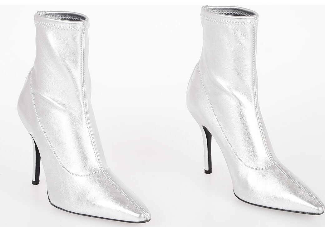 Giuseppe Zanotti 10,5cm Stretch Nappa NOTTE Ankle Boots SILVER