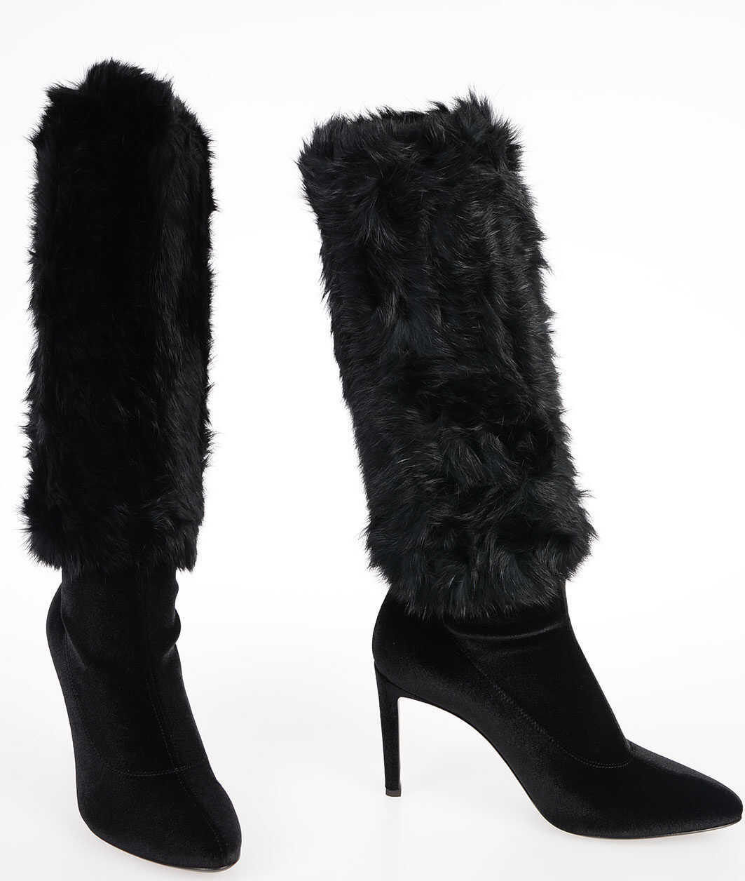 Giuseppe Zanotti 9cm Velvet Real Fur Boots BLACK