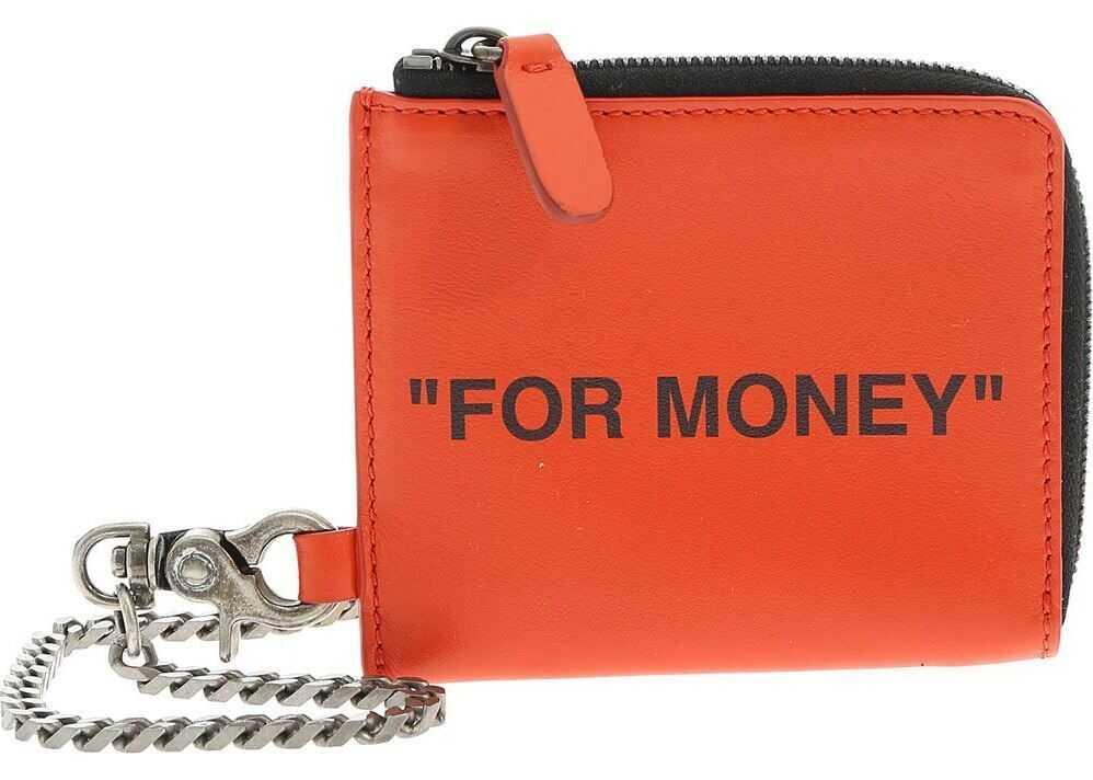 Off-White Quote Chain Coin Purse In Orange Color Orange