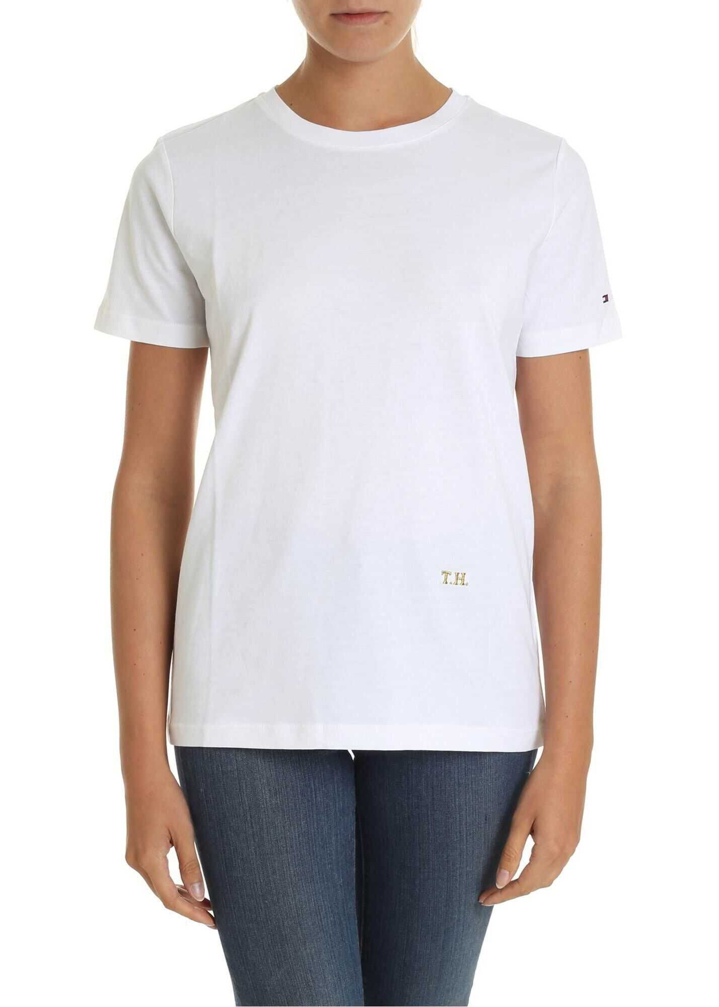 Tommy Hilfiger White T-Shirt With Golden Lamè Logo Embroidery White