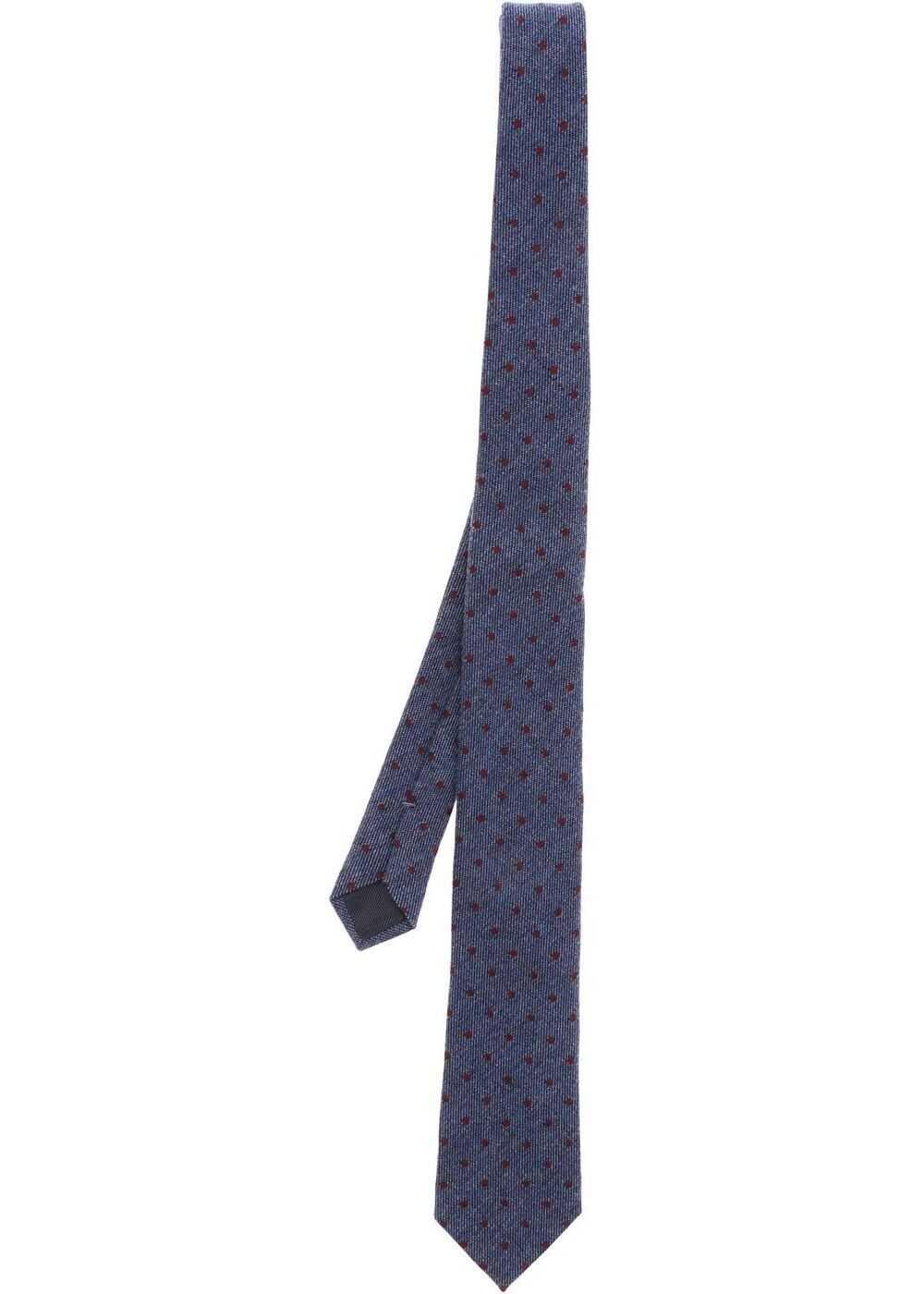 Ermenegildo Zegna Melange Blue Tie With Polka Dots Blue