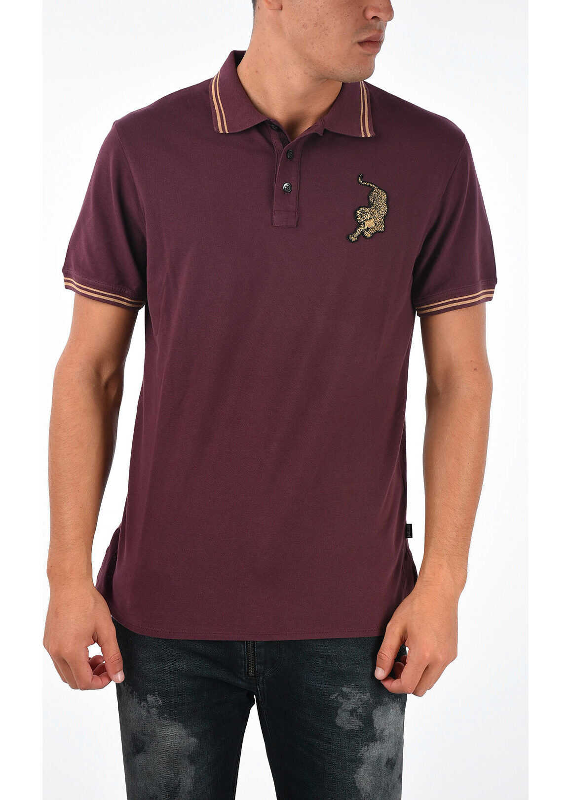 Just Cavalli Polo with Embroidery BURGUNDY