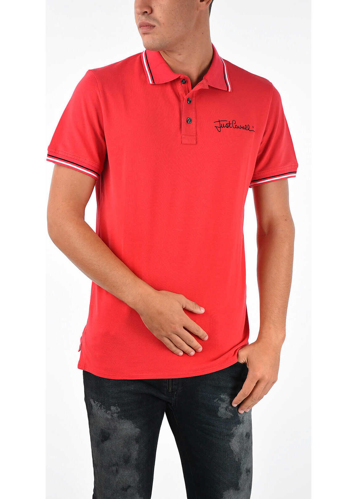 Just Cavalli Stretch Cotton Polo RED