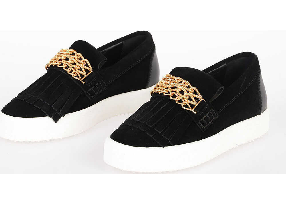 Suede Slip On Sneakers with gold tone Chain thumbnail