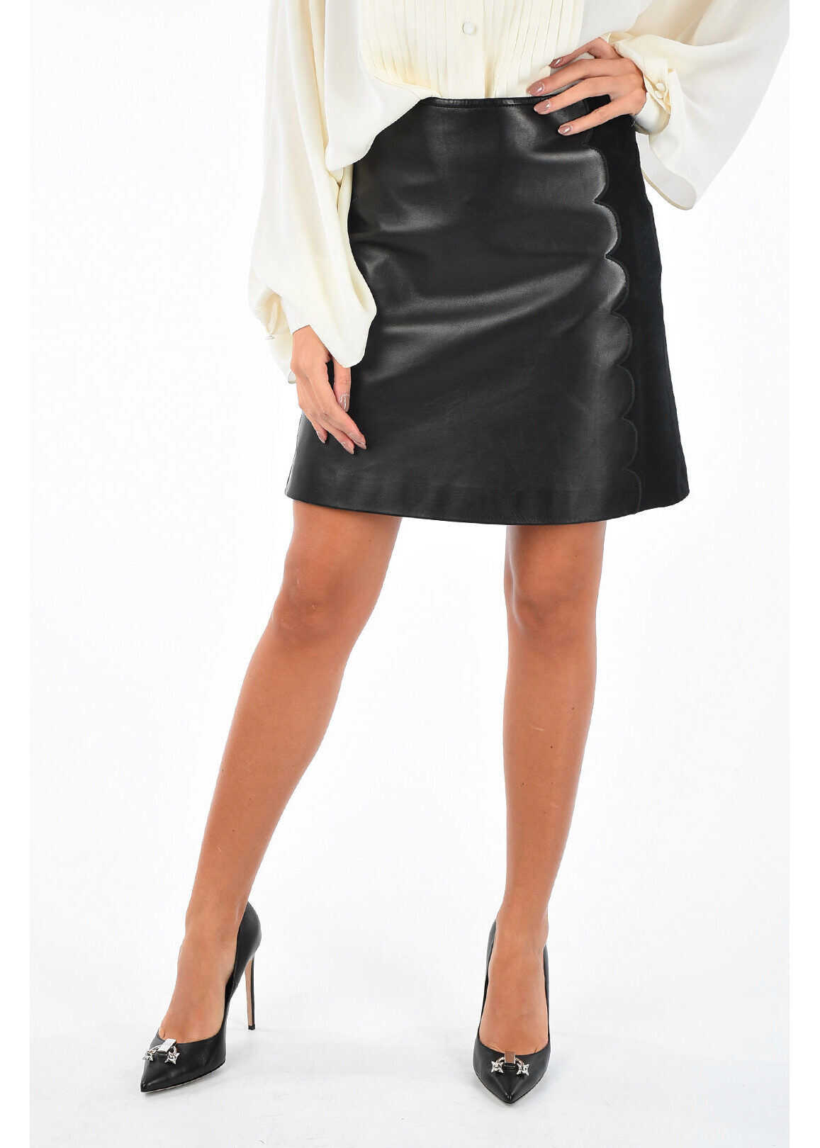leather and embroidered above knee pencil skirt thumbnail