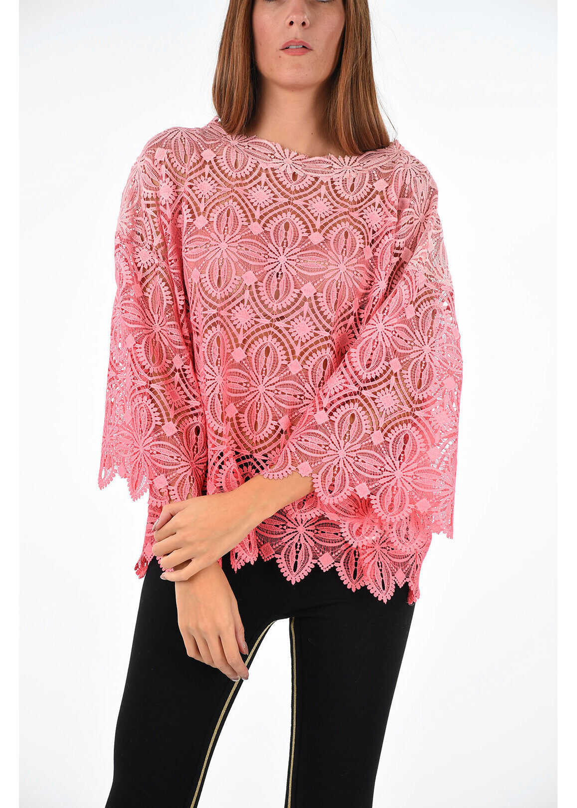 crochet embroidered sheer top