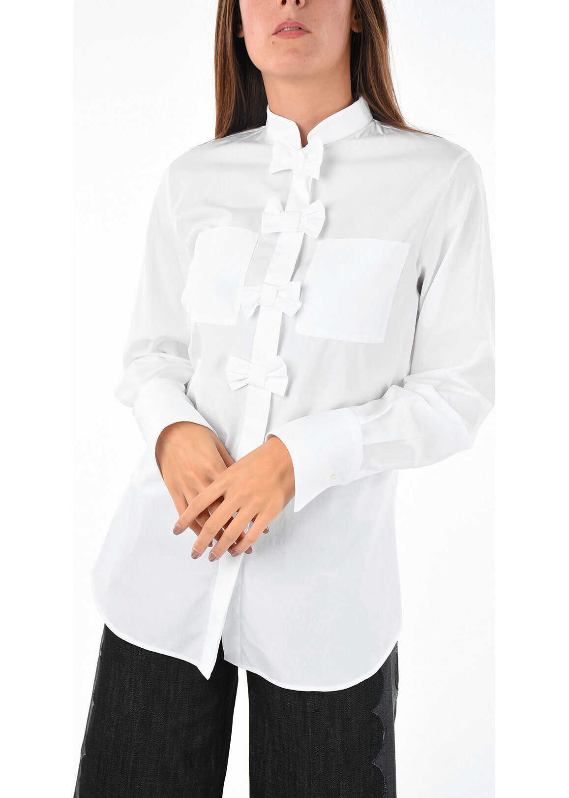 mandarin collar hidden closure blouse thumbnail