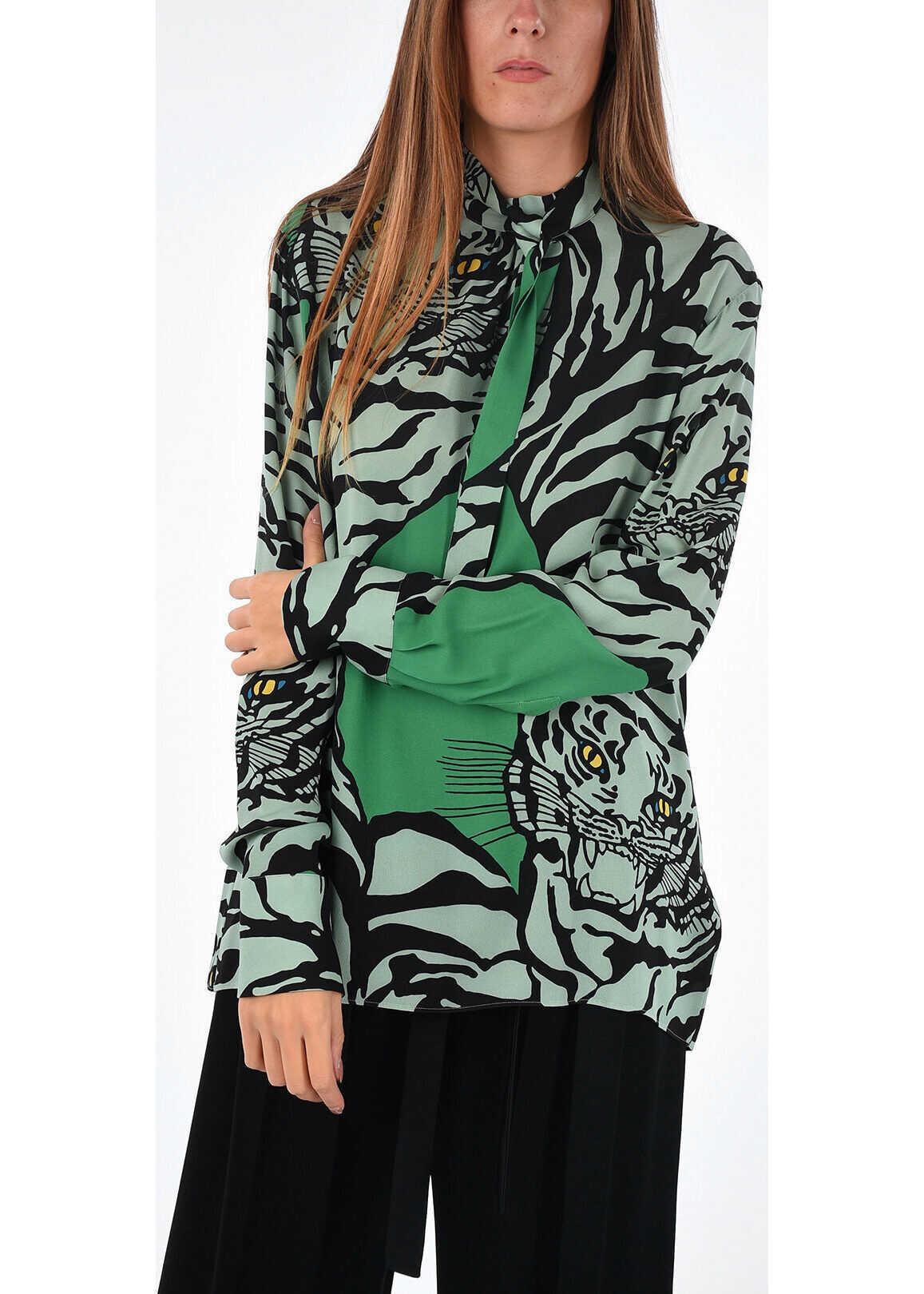 tiger-print silk tie neck collar blouse