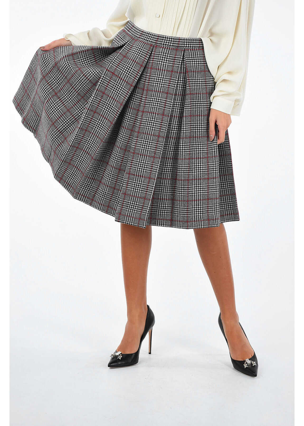 Pleated houndstooth circle skirt thumbnail
