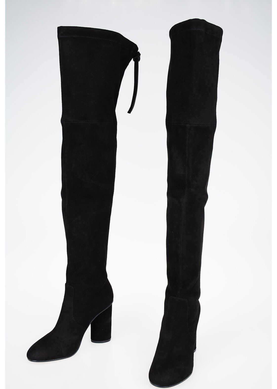 Stuart Weitzman 6cm Suede Leather HELENA 95 Boots BLACK