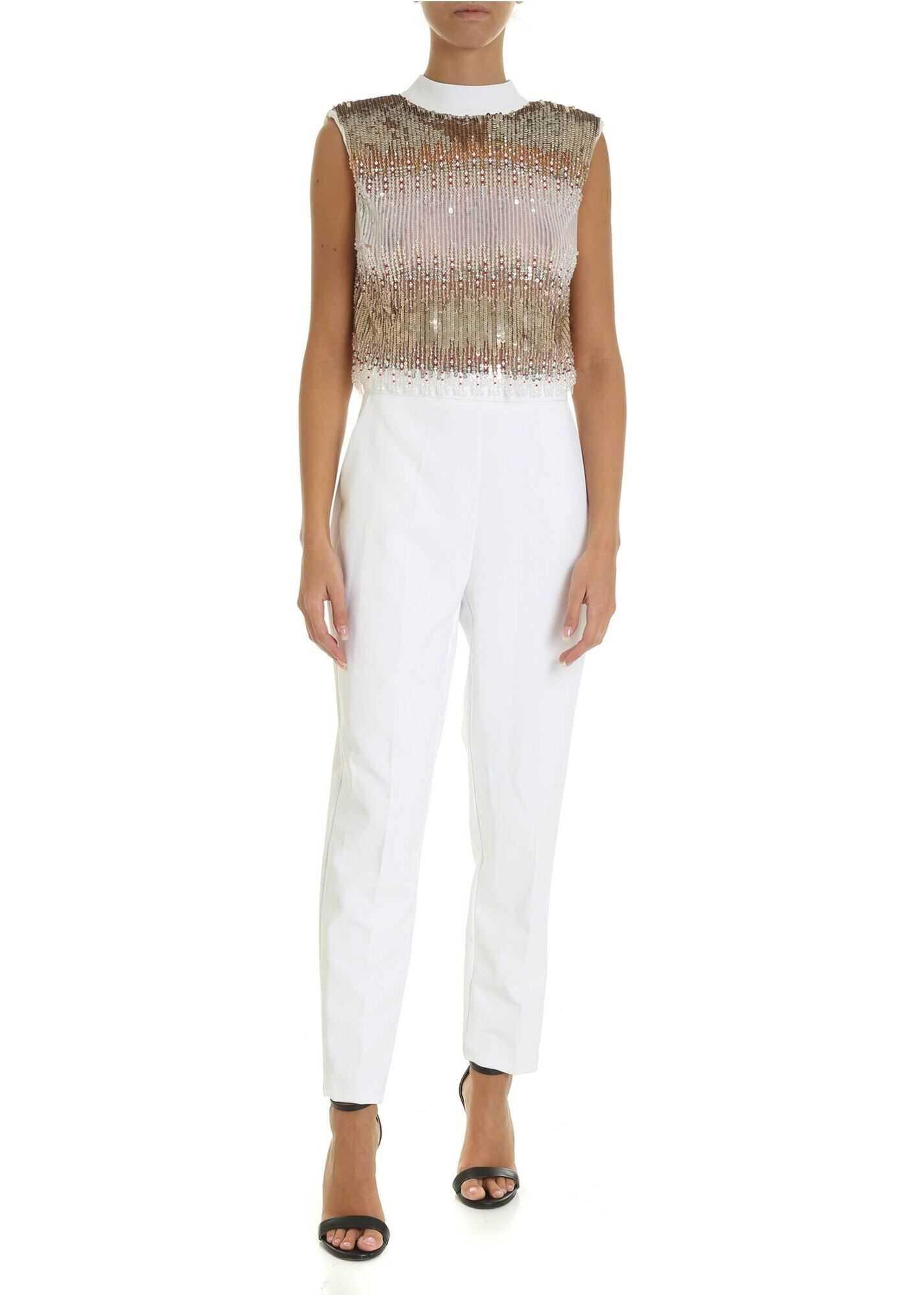 Elisabetta Franchi White Sleeveless Jumpsuit With Sequins White