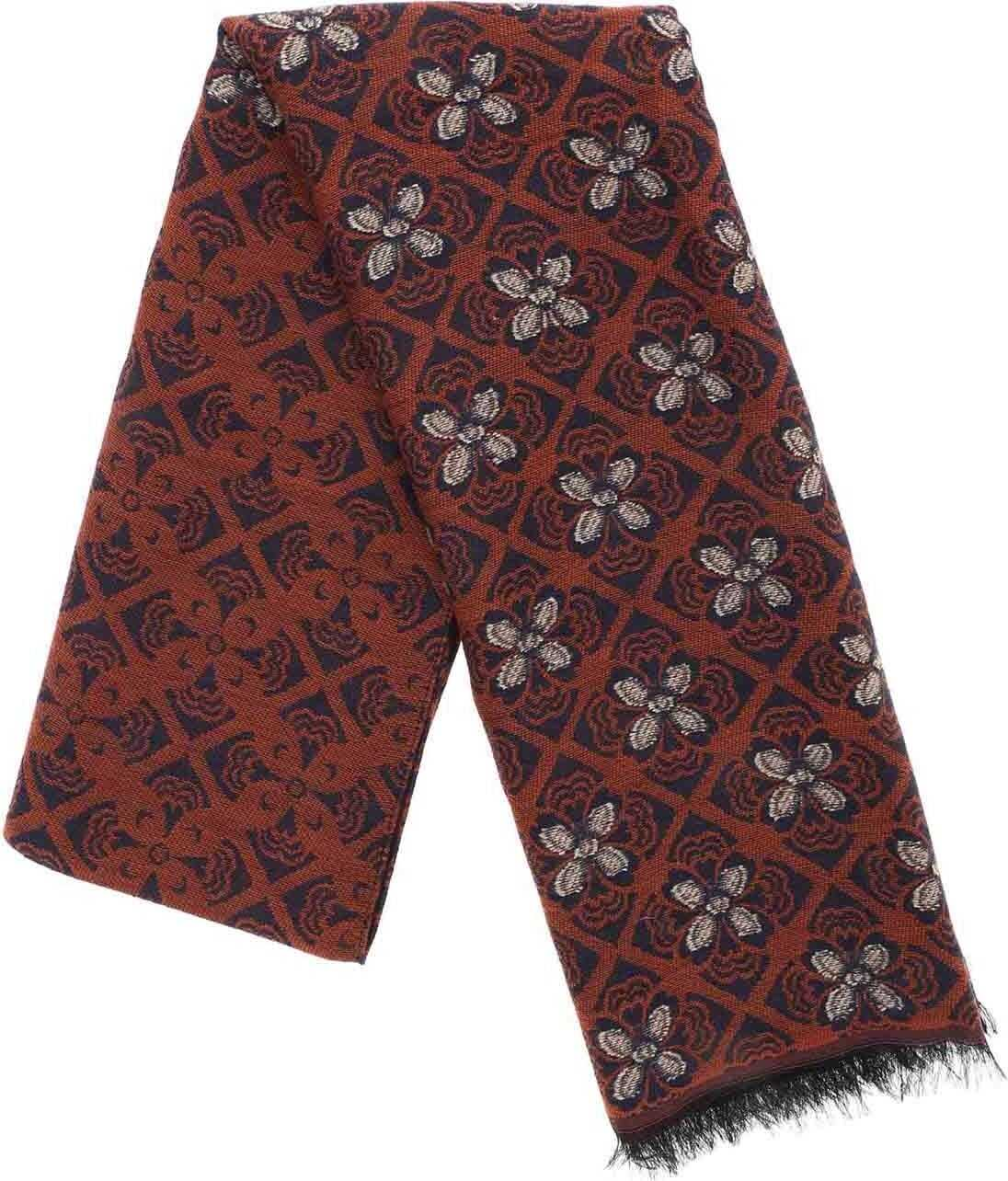 L.B.M. 1911 Scarf In Brown With Floral Embroidery Brown