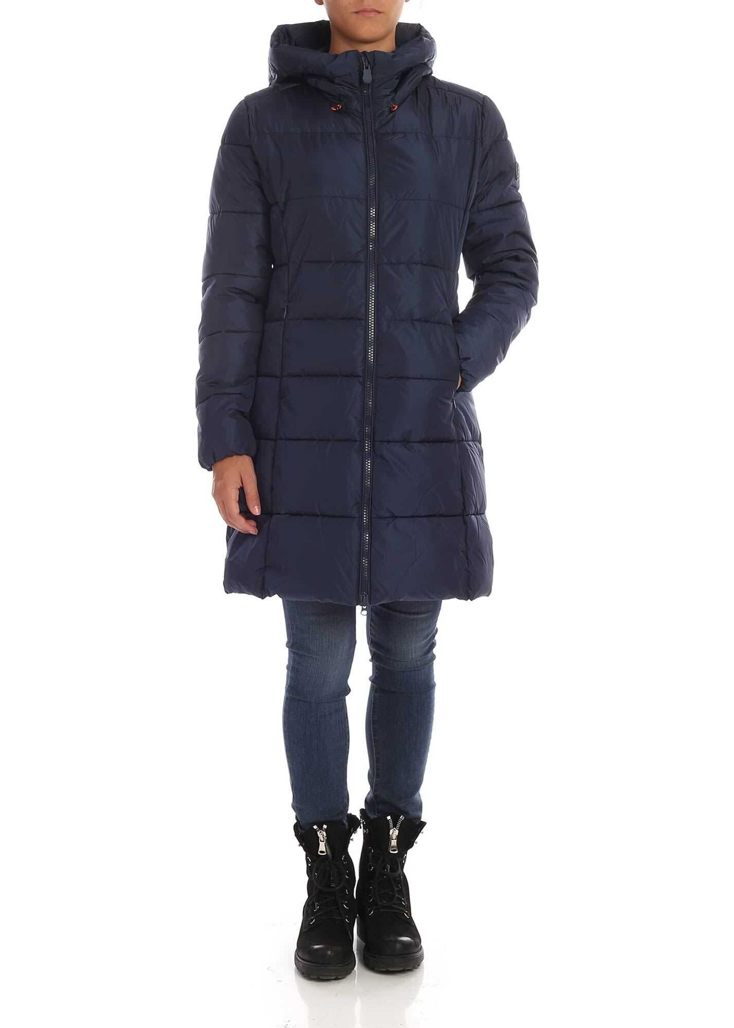 Save the Duck Quilted Effect Down Jacket In Blue Blue
