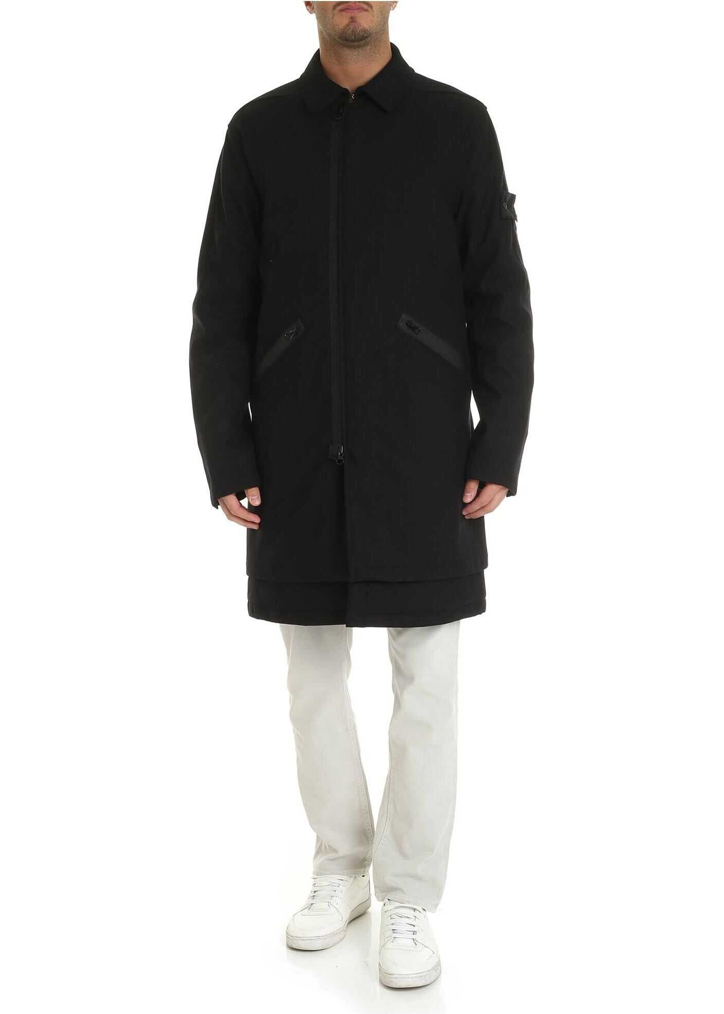 Stone Island Sw 3L Padded Coat In Black Black