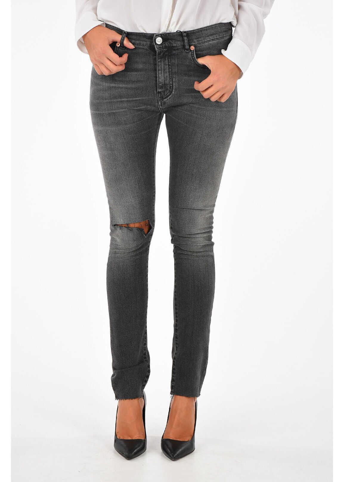 Balenciaga 13,5cm Distressed Denim Jeans GRAY