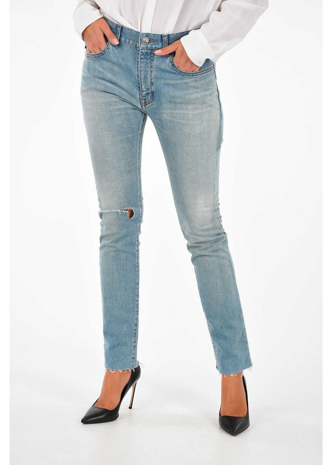 Balenciaga 15,5cm Distressed Denim Jeans BLUE
