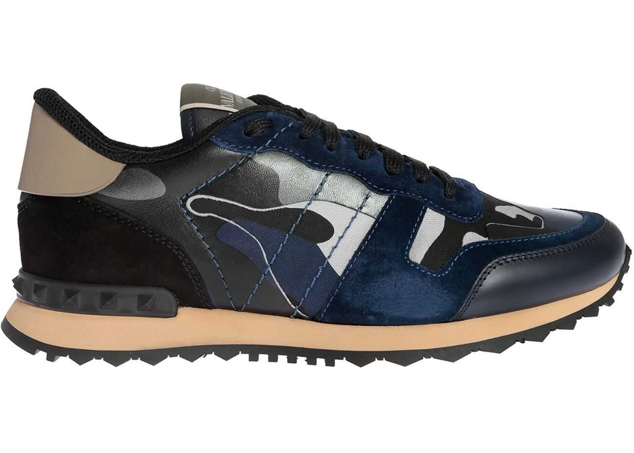 Valentino Garavani Rockrunner Sneaker Camouflage In Blue Blue