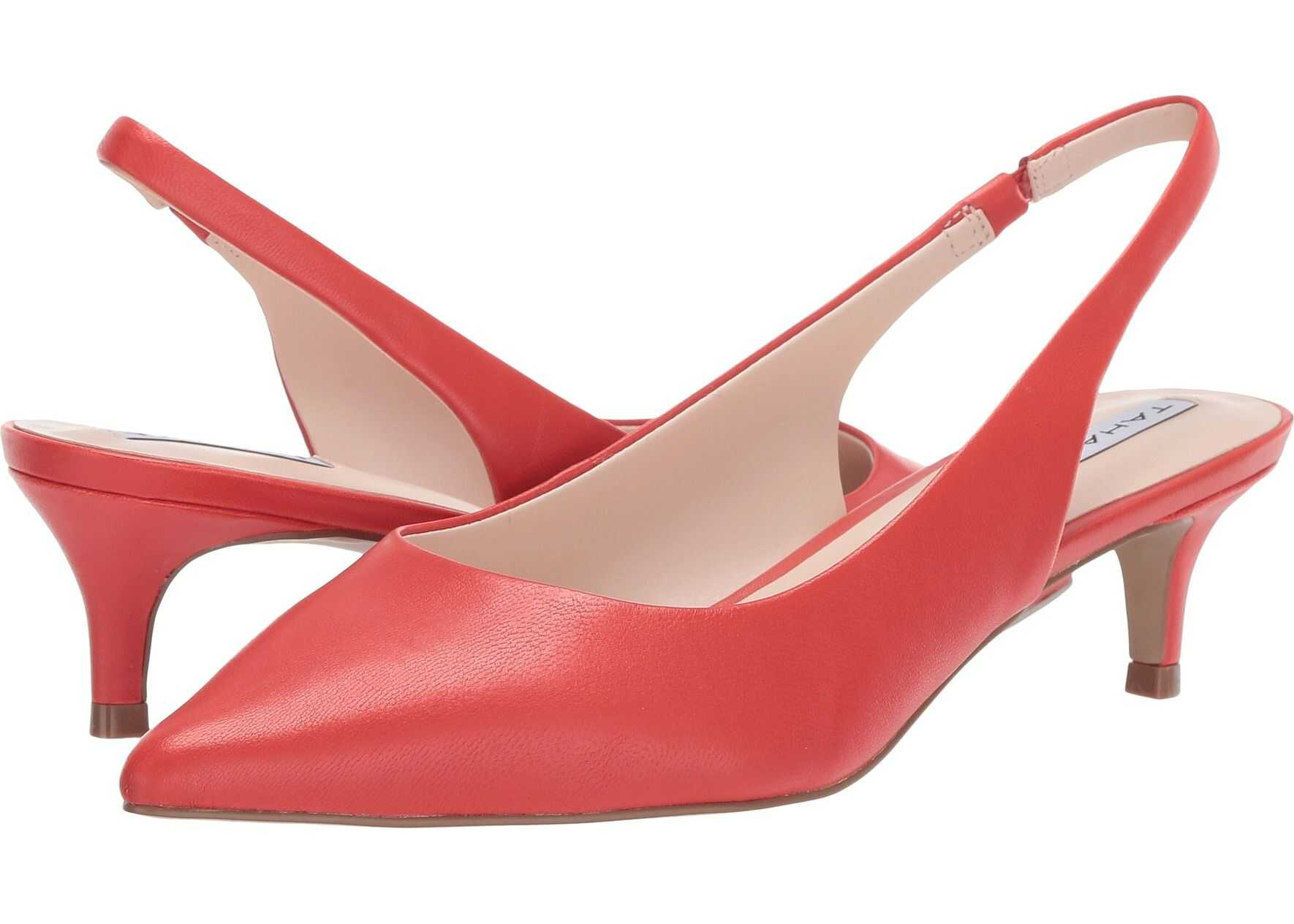 Tahari Finnley Slingback Kitten Heel* Coral Leather