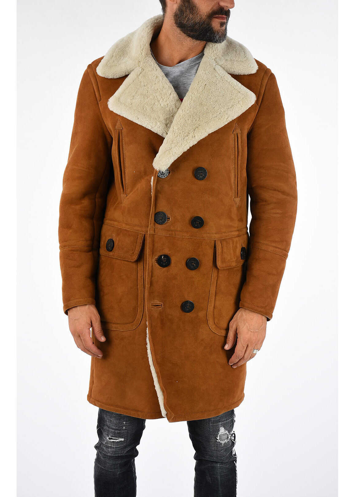 DSQUARED2 Double Breasted Shearling Coat BEIGE