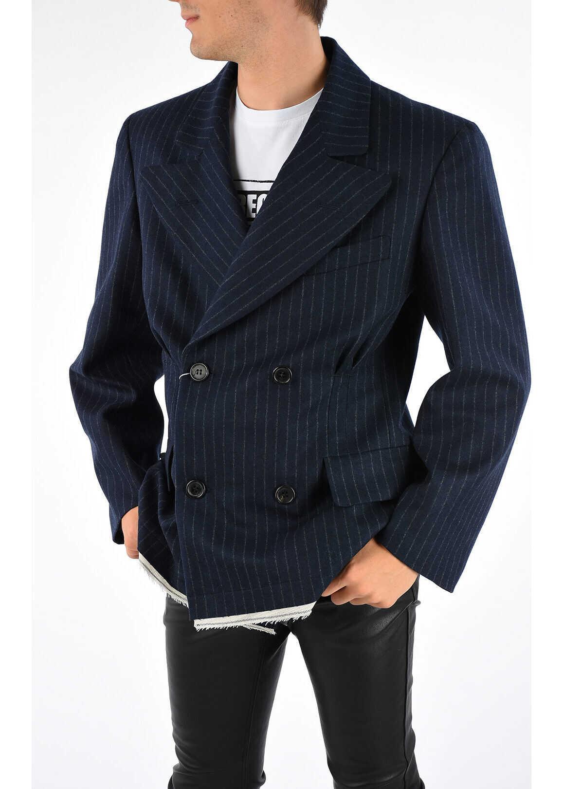 Maison Margiela MM10 Striped Double Breast Coat BLUE