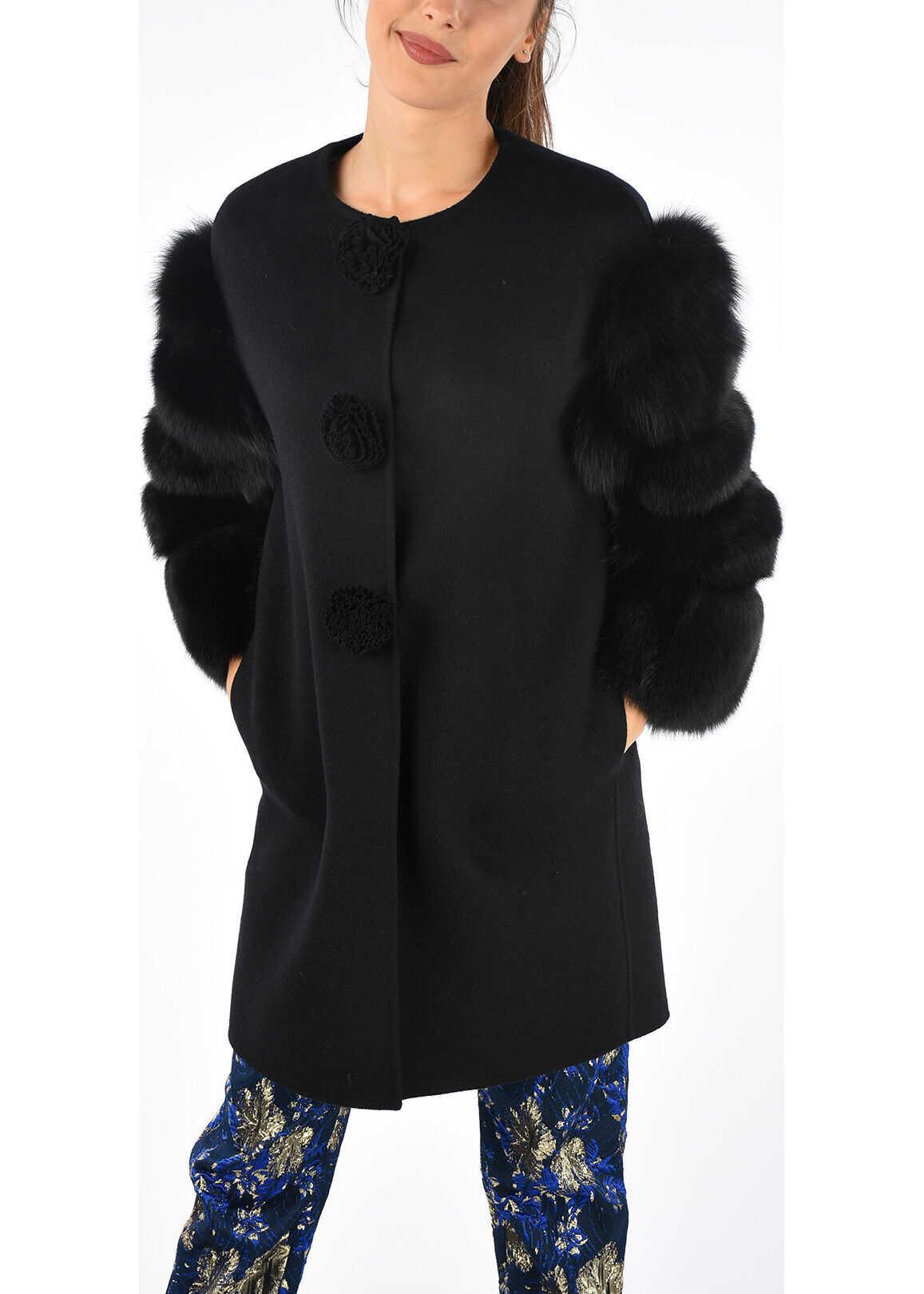 Ermanno Scervino Real Fur Details Coat BLACK