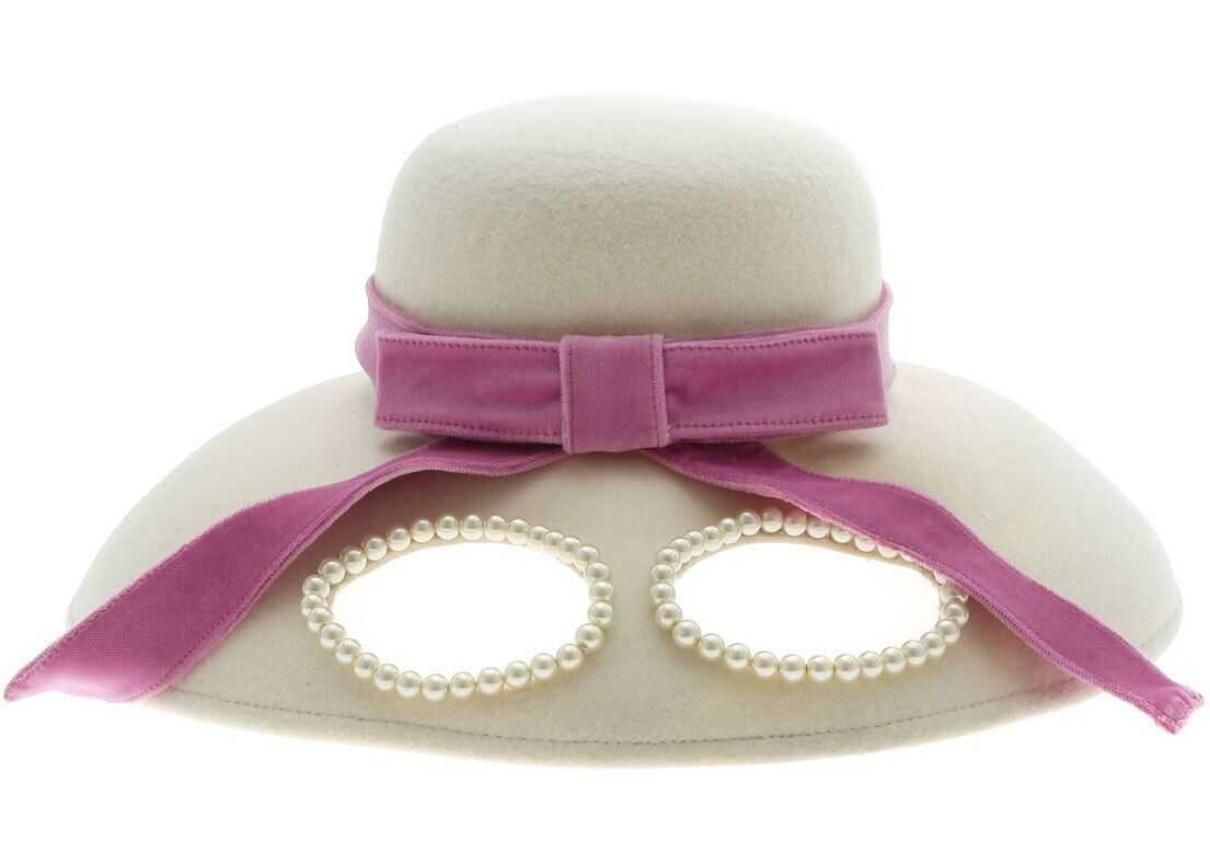 Vivetta Cap In Ivory Color With Glasses And Pink Ribbon White