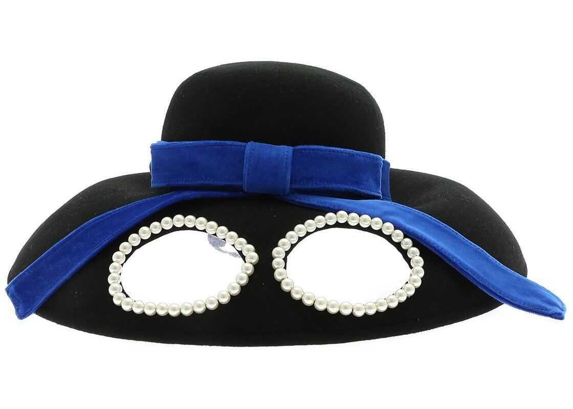Vivetta Black Hat With Glasses And Blue Ribbon Black
