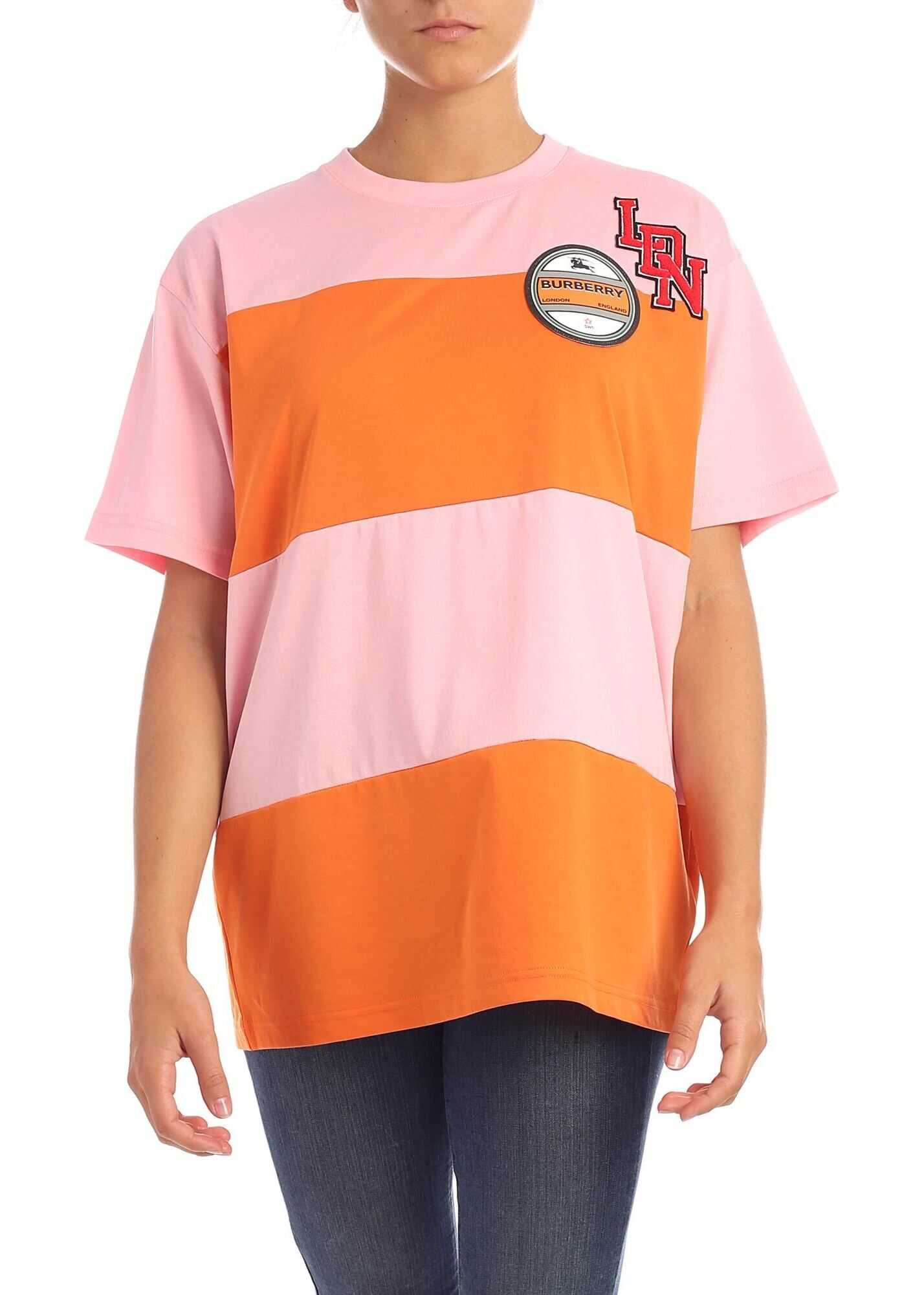 Burberry Carrick T-Shirt In Pink And Orange Pink