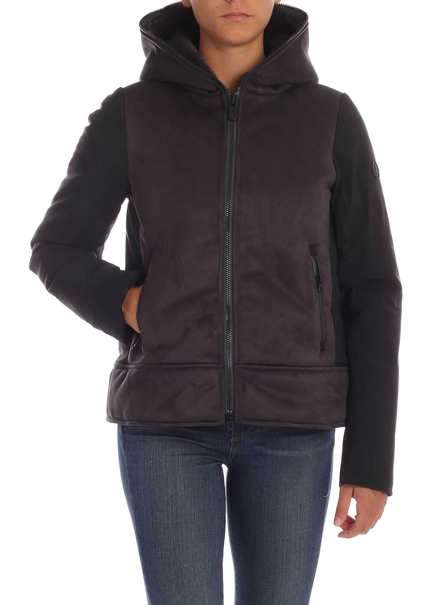 Save the Duck Grey Down Jacket With Eco-Suede Details Grey