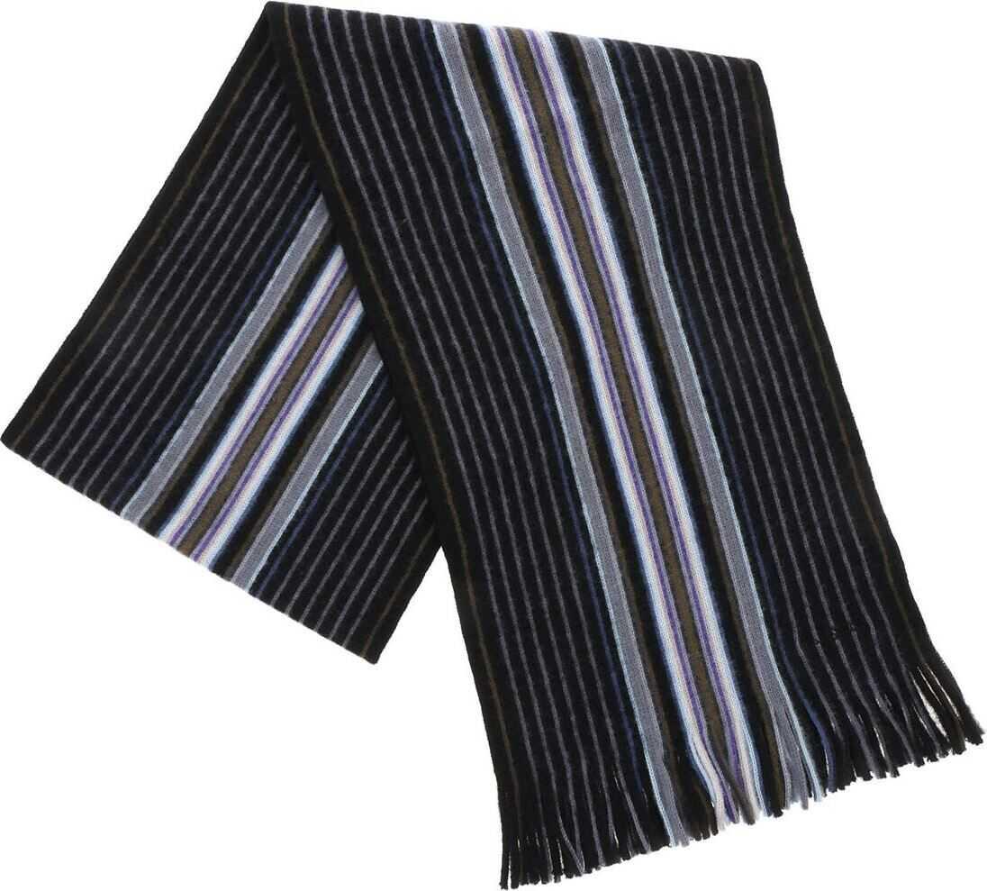 Paul Smith Black Scarf With Goji Stripe Pattern Black