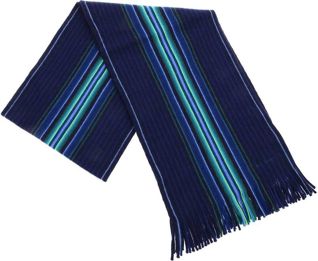 Paul Smith Blue Scarf With Goji Stripe Motif Blue
