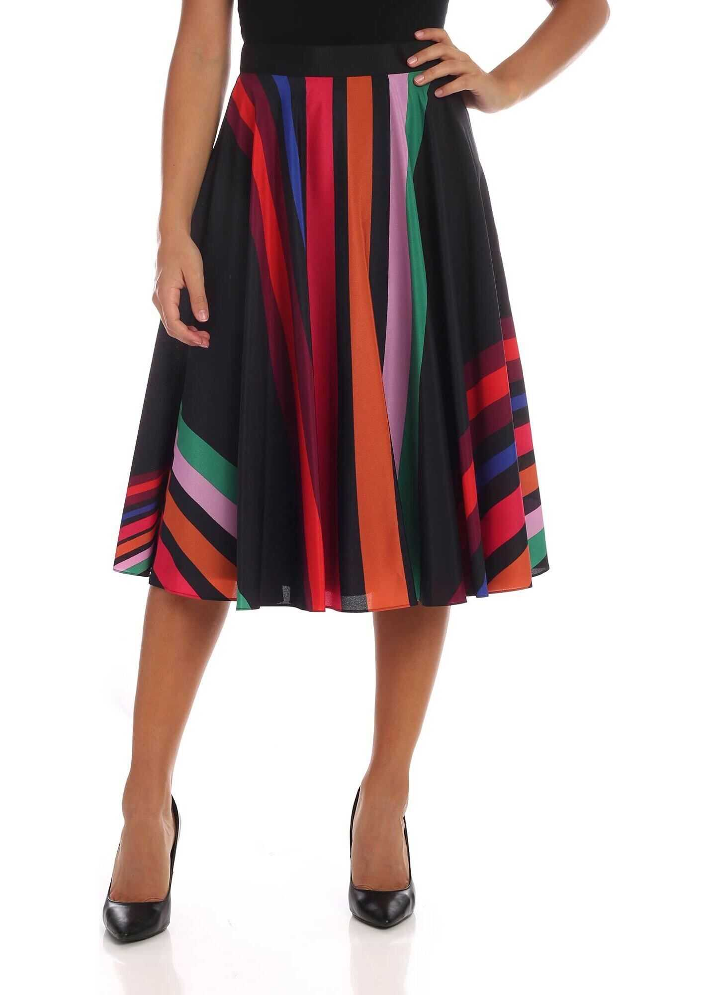 Multicolour Striped Midi Skirt thumbnail