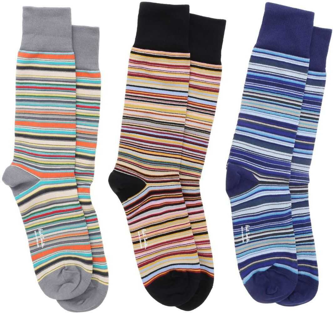 Paul Smith Set Of 3 Multicolor Striped Socks Multi imagine
