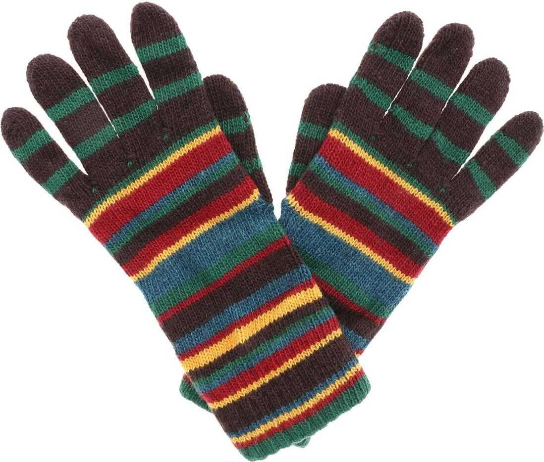 Paul Smith Brown Striped Gloves Brown