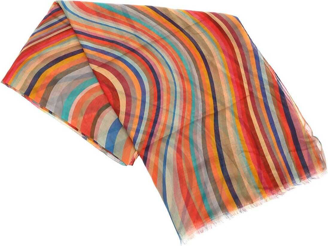 Paul Smith Scarf With Multicolor Artist Stripes Pattern Multi