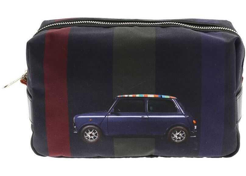 Paul Smith Travel Clutch Bag With Mini Stripe Print M1A-5407-A40478 47 Blue imagine b-mall.ro