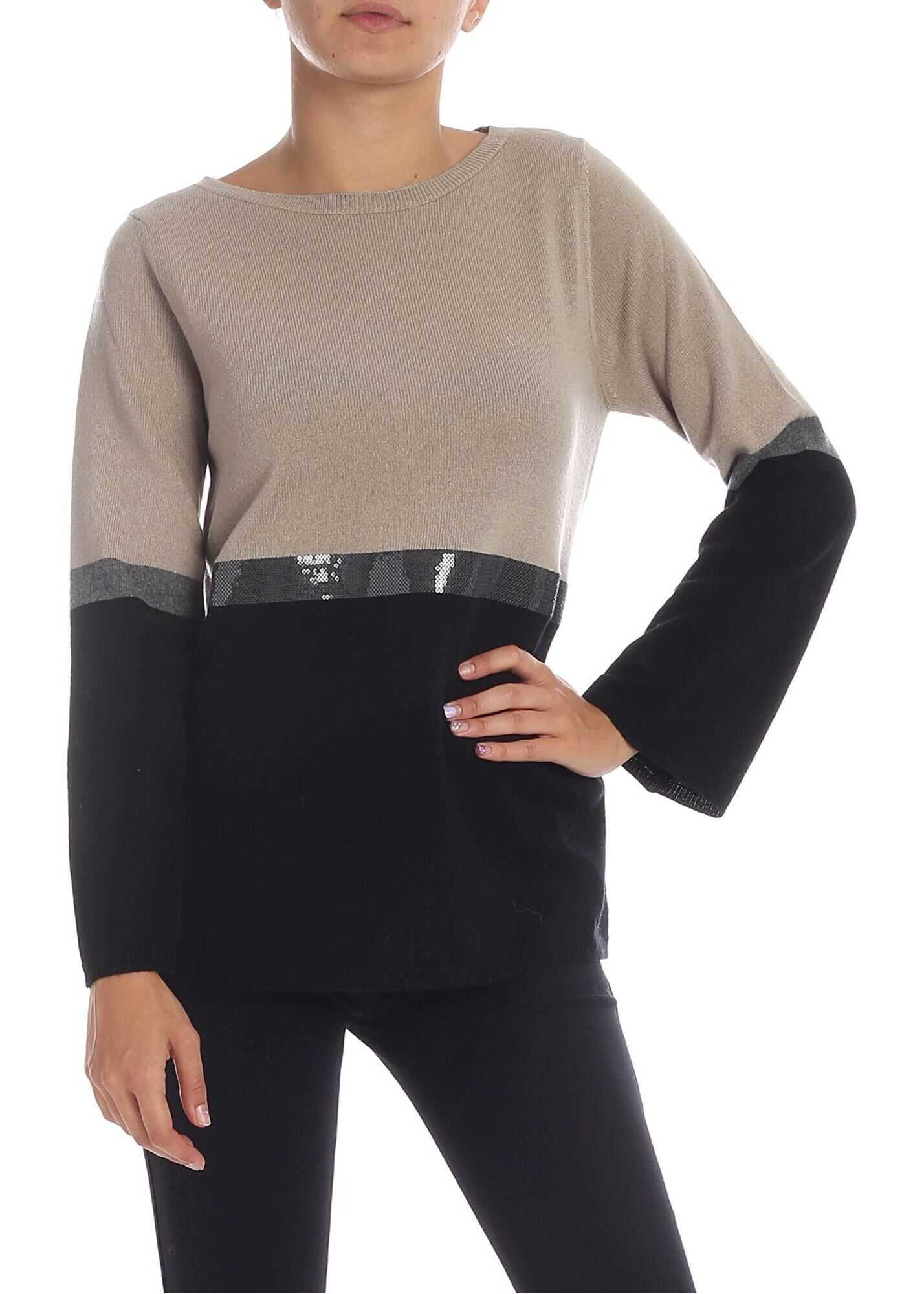 Kangra Cashmere Colorblock Sweater With Sequins In Beige* Beige