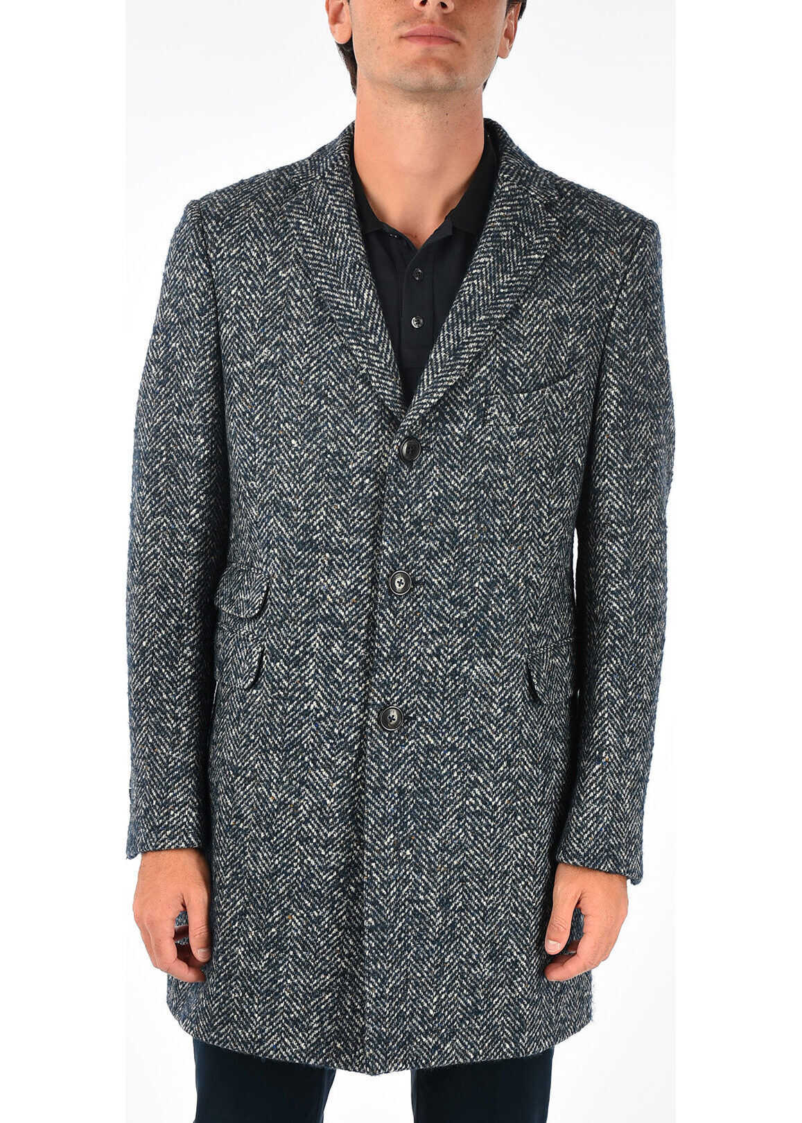 TOD'S Wool Blend Single Breasted Coat BLUE