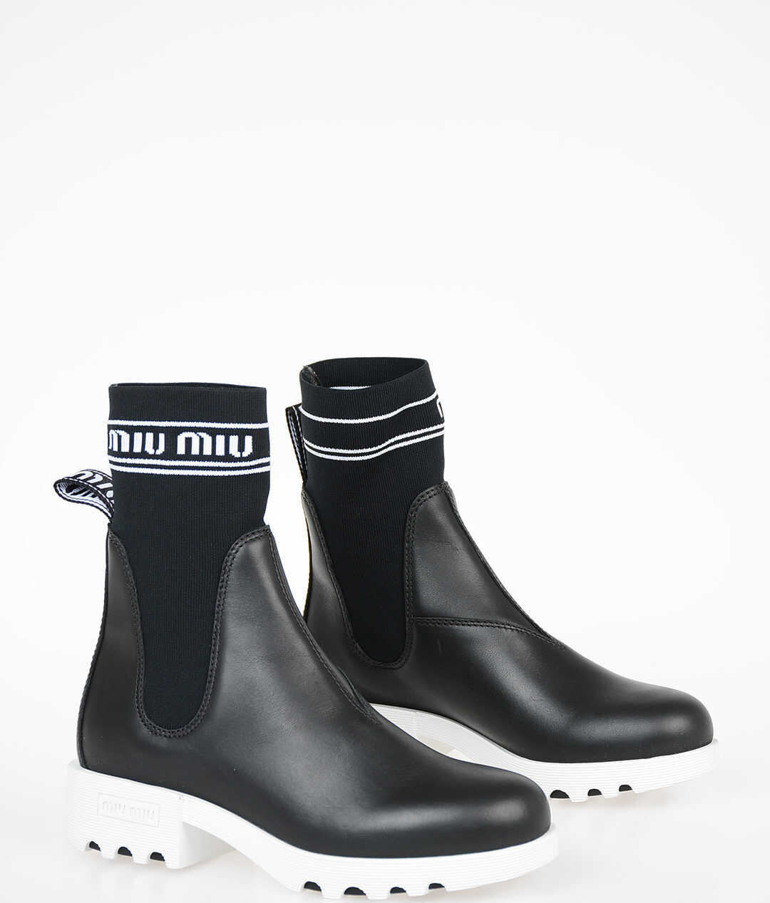Miu Miu Fabric and Leather Pull On Boots BLACK