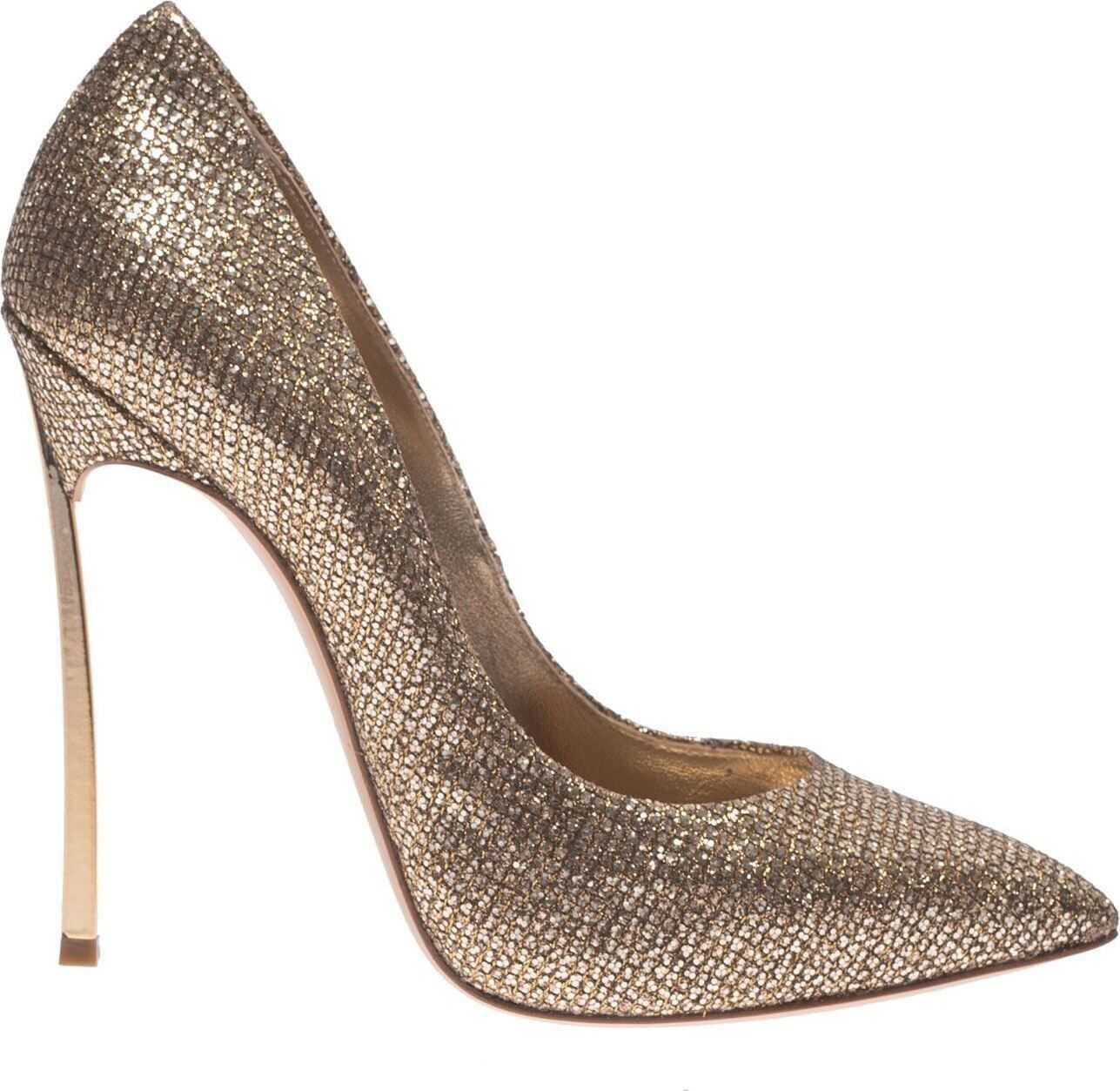 Pumps In Gold Color With Blade Heel thumbnail