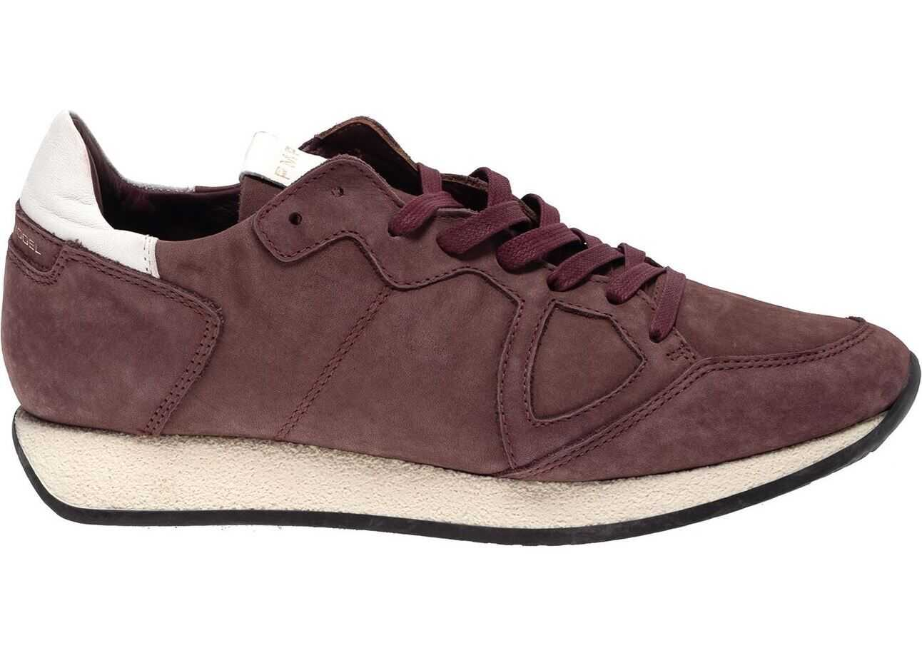 Philippe Model Monaco Sneakers In Wine Color Red