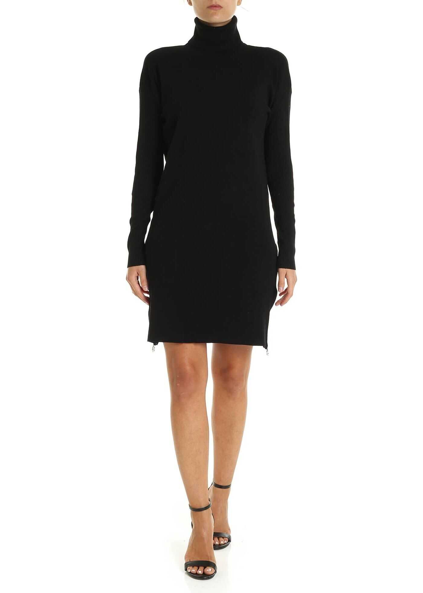 Black Knit Dress With Zip thumbnail