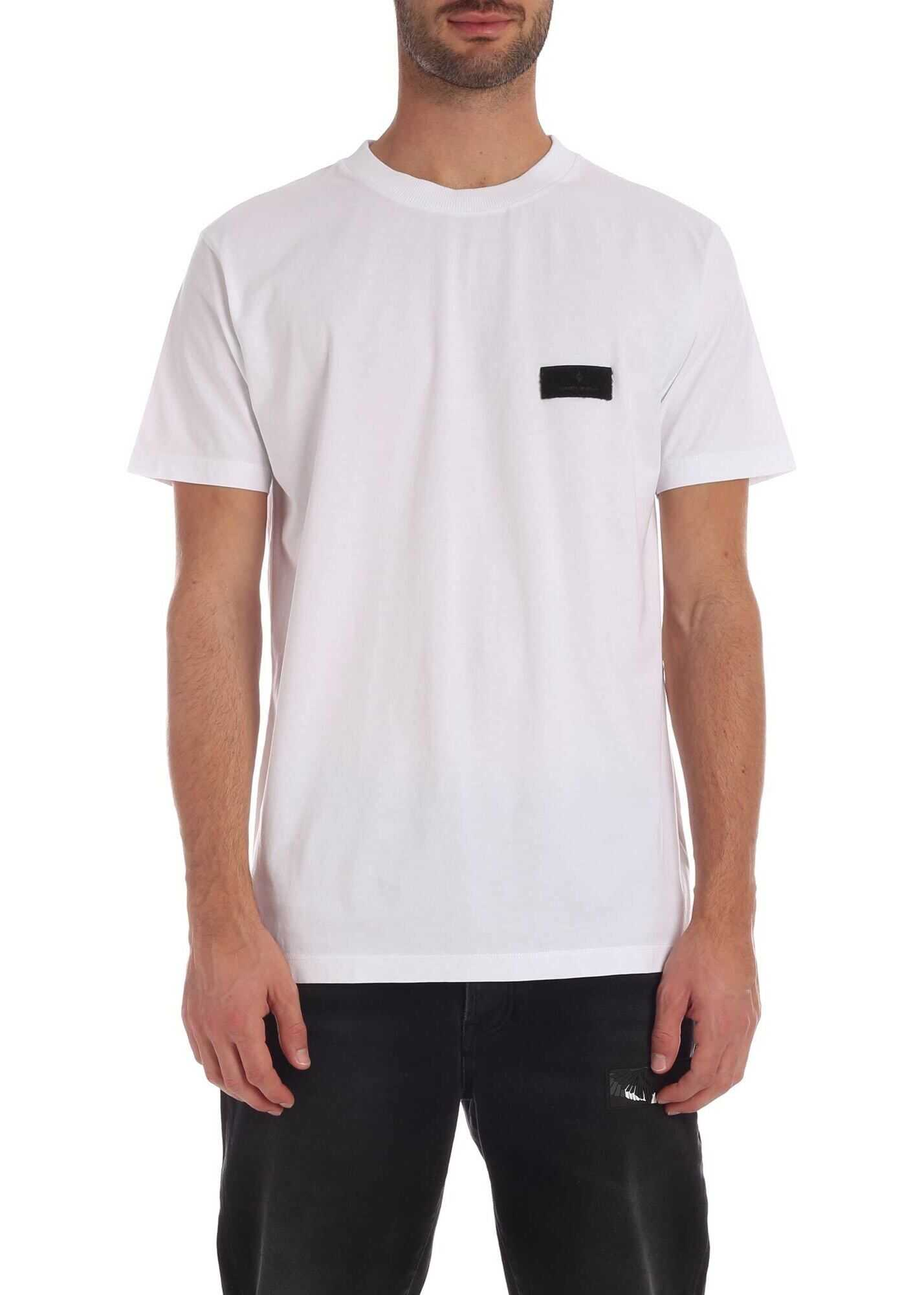 Marcelo Burlon White T-Shirt With Red Wings Logo Patch White