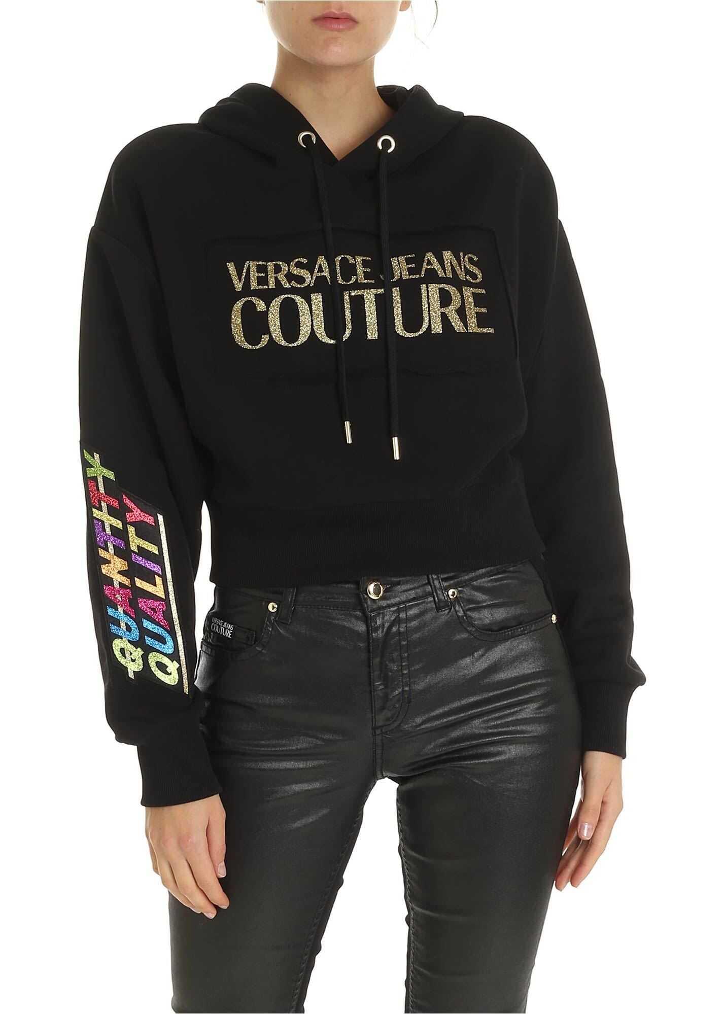 Versace Versace Jeans Couture Crop Black Sweatshirt Black