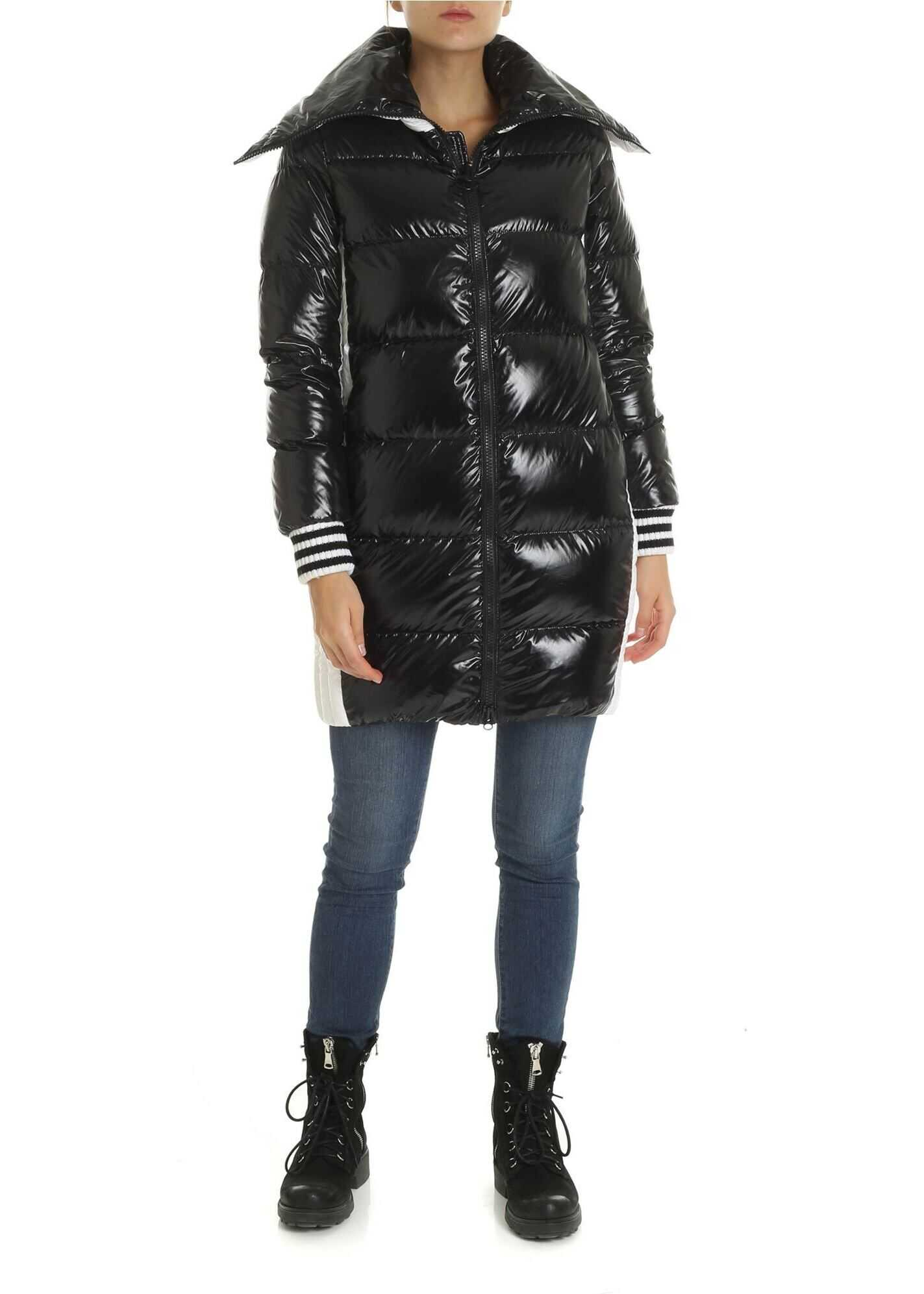 Colmar Long Down Jacket In White And Black Color Black