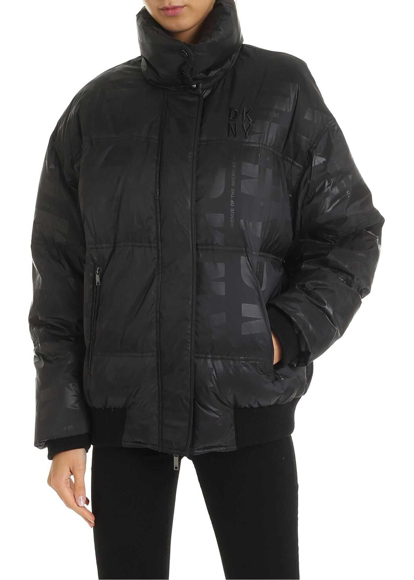 DKNY Down Jacket With Logo Prints In Black Black