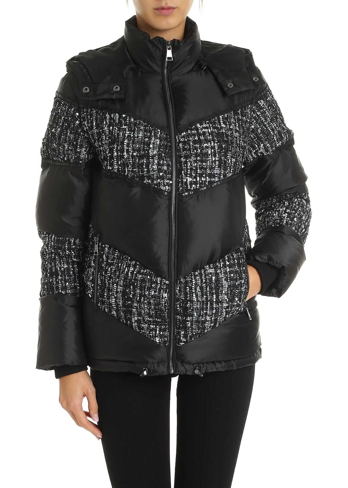 Karl Lagerfeld Down Jacket With Bouclé Inserts In Black Black