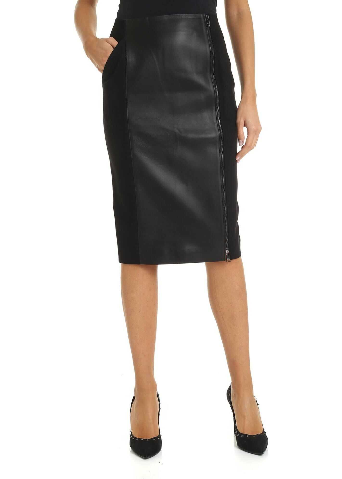 Midi Skirt With Zip In Black thumbnail